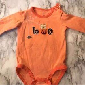 Carters Orange Ghost 'Boo' Halloween Snap Bottom